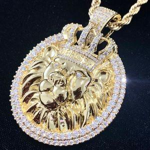 BIG LION KING DIAMOND cz 18K GOLD CHAIN MADE ITALY